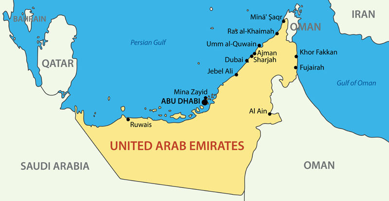 teaching in the uae uae map